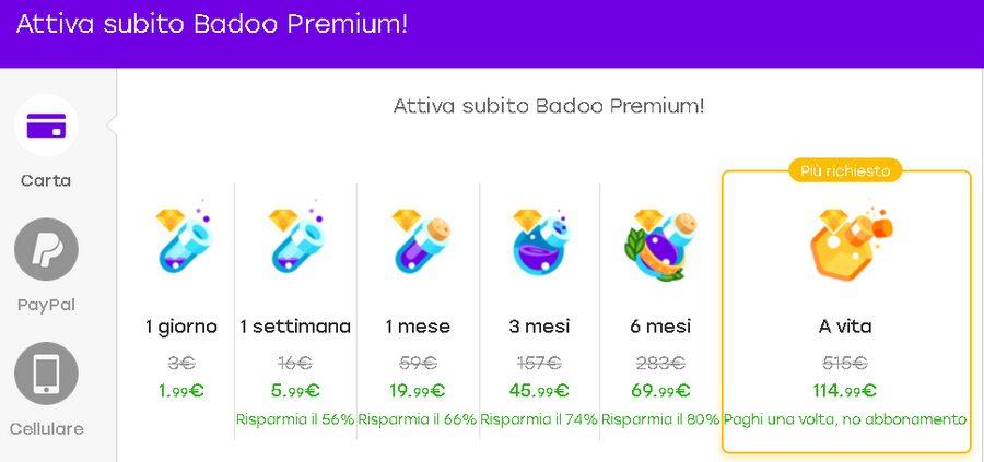 badoo premium costo